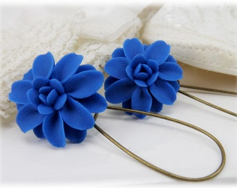 Blue Dahlia Dangle Earrings -  - Silver Gold or Antique Brass Blue Dahia Drop Earrings, Blue Flower Earrings