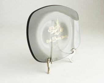 Thick Smoky Glass Vintage Plate from Walt Disney World IRGBA 1979