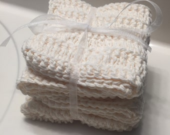 Set of 4, Cream, 100% Cotton Dishcloth, Washcloth