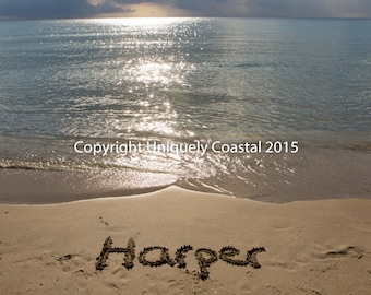 Name in Sand, Baby Girl Gift, Personalized Artwork, Beach, Nursery Decor - Harper