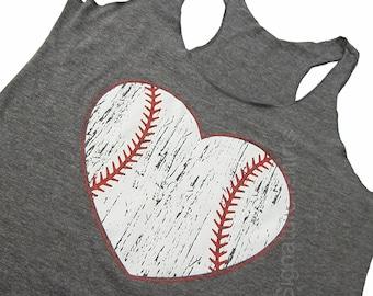Baseball Tank top. Baseball top. Baseball womens Tank. Vintage baseball heart graphic sport game tank top