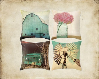 Throw Pillow Cover Aqua Country Set Barn Turquoise Teal Truck Windmill Pink Hydrangea Rustic Farmhouse Couch Decor Home Bedroom