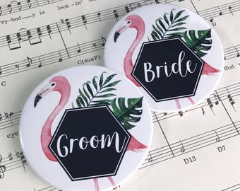 Wedding Favour Bottle Openers, Fridge Magnets, Pocket Mirrors or Pin Badges - Tropical Flamingo Design + Organza Bags x40 Place Card Setting