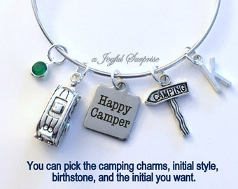 Camping Bracelet, Gift for Happy Camper Jewelry RV Camp Staked Sign Trailer Charm Bangle Silver initial Birthstone Friend Present Women her