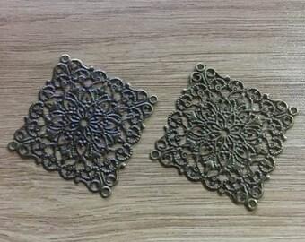 set of 5 square connectors filigree 40 mm bronze