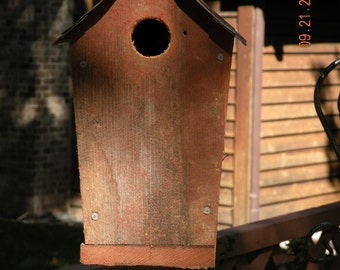 Classic Style Barnboard Birdhouse 10 Inches High With Tin Roof