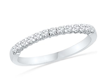 White Gold Diamond Wedding Band with 1/4 CT. T.W. Diamond, Half Eternity Wedding Band