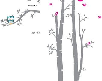 CUSTOM LISTING Birch Tree Decal ,2 Birch decal,birch tree set, Birch forest, Nursery Birch trees, Modern Nursery, Nursery decals,Baby Decals