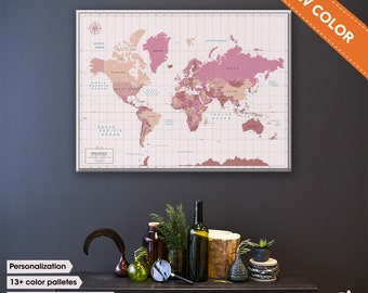 Wedding Decor - Personalized Gift for Couple - Blossom 2018 - NEW Spring and Summer Colors for push Pin World Travel Map Canvas