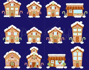 Gingerbread House Clipart, Gingerbread House Clip Art, Winter Village or Town Clipart Clip Art - Commercial and Personal Use