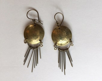 Vintage-Boho peruanischen Kuppel Münzen Ohrringe