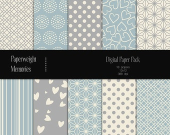 Soothing Blues - digital patterned paper - Instant Download -  digital scrapbooking - patterned paper - Commercial use