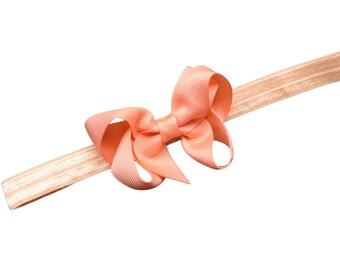 Peach baby headband - peach bow headband, newborn headband, baby bow headband, baby girls, bow headband, peach headband, baby bows