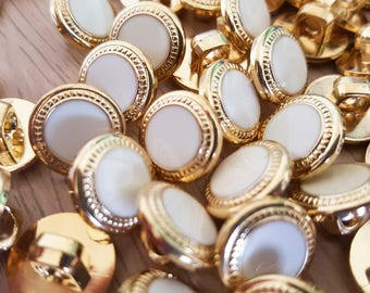 "1/2"", White & Gold Bulk Buttons for Crafts, Sewing, Jewelry and More - Button Lot- 75 or 125 buttons in each bag"
