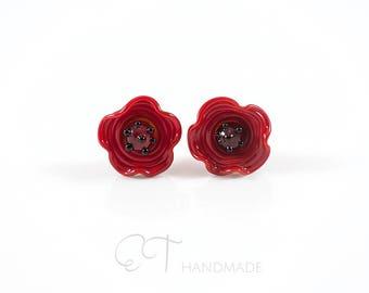 Murano glass flower studs - Made in Italy flower stud earrings - Red poppy earrings