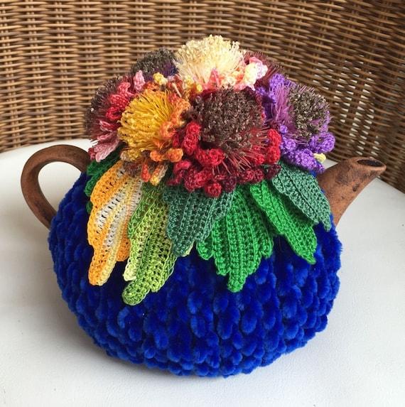 Häkeln Sie Tee gemütlich blauen Tee Abdeckung Trolles Blume