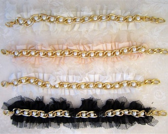 Lace Bridesmaid Bracelet With Netting, Pearls and Gold Chain Choose Petal Pink, Black, Eggshell White, or Ivory