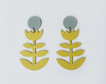 Mustard Yellow and Grey Laser Cut Statement Flower Earrings