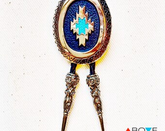 Southwestern BOLO TIE - The 'ARROYO' Turquoise Aztec Bolo Tie