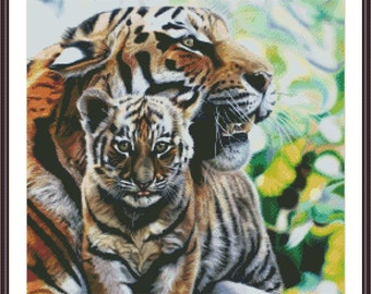 Cross Stitch Pattern Tiger Family Mother Love Printable PDF DIY Modern Embroidery Chart Instant Download