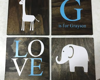Elephant/Giraffe Personalized Nursery Decor