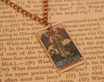 Tarot pendant tarot jewelry Temperance minimalist jewelry mixed media jewelry supernatural