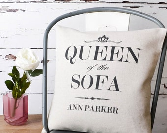 Personalised 'Queen Of The Sofa' Birthday Gift For Her Custom Made Pillow Cushion Cover Quality Linen Cotton