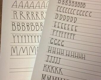 Hand Lettering Calligraphy Practice Sheets Instant PDF blank worksheet download // Good for script or regular lettering // 2 sizes included