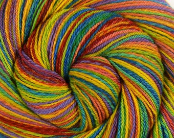 Sport Weight Handspun Yarn, Self Striping -CHASING RAINBOWS- Hand Dyed Superfine Merino wool, 378 yds, gift for knitter, rainbow yarn