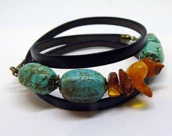 Multi-wrap bracelet, leather bracelet, turquoise bracelet, natural amber, natural stones bracelet, 2in1 bracelet, boho bracelet