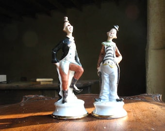 Cirque Sanders presents: Two French Clowns, porcelain, biscuit, 70s