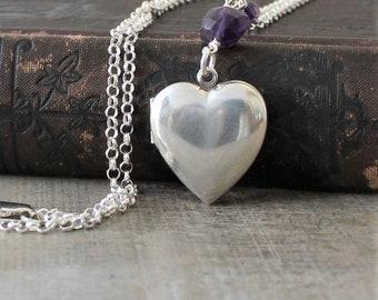 Silver Heart Locket Necklace, February Birthstone Locket, Sterling Silver Locket Pendant, Amethyst Locket, Push Present Locket Modern Locket