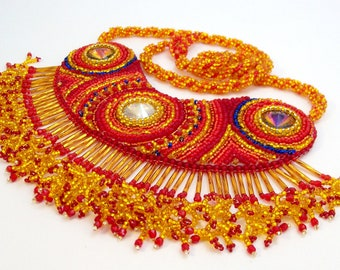 Red and Gold Bead Embroidered Necklace Baby You're a Firework