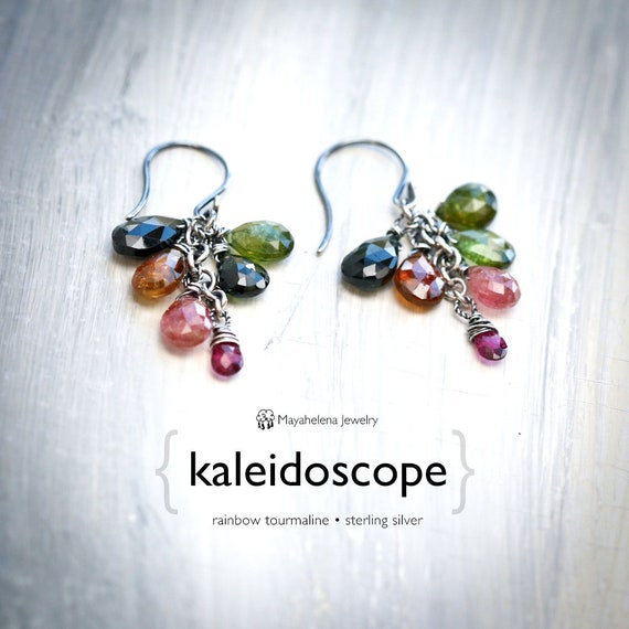 Kaleidoscope - Rainbow Tourmaline Wire Wrapped Dangle Sterling Silver Earrings