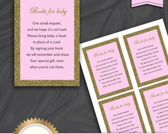 Baby Shower Book Request Card, Bring A Book Instead Of A Card, Baby Girl, Royal Baby Shower, Pink Gold  - Instant Download, BS14