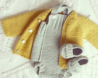 cotton merino baby cardigan -  handmade baby knits - baby sweater - newborn cardigan - baby knits  - cotton baby - merino baby knits