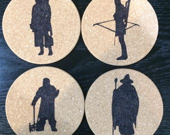 Set of 4 round cork Lord of the Rings coasters-Aragorn, Legolas, Gimli, Gandalf