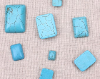 cabochon rectangle 6 * 8 mm Crackle turquoise gemstone pair