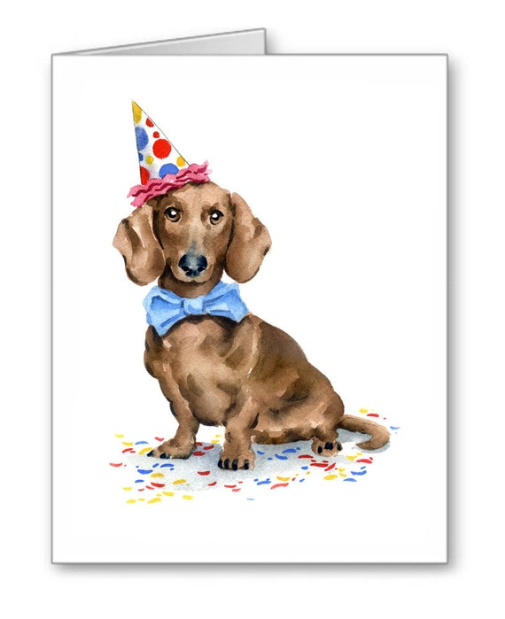 Dachshund Birthday Card 6 Pk Note Cards Watercolor