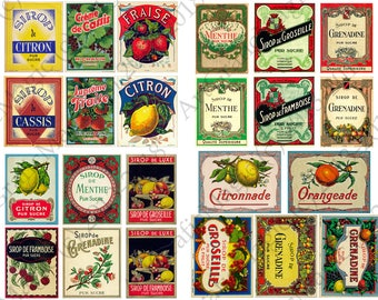 Vintage beverages  collage sheet  instant download decoupage paper - scrapbooking retro food, wine labels