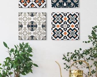 Wall Art Set of 4 Canvas, Geometric Canvas Art, Spanish Tile Design, Vintage Wall Art, Barcelona Tiles, Home gifts, Canvas Prints, Blue