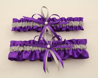 Purple and Silver/Grey Wedding Garter, Bridal Garter Set-(Your Choice, Single or Set)