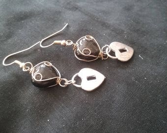 Wire Wrapped Black Bead and Silver Plated Heat Lock Earrings, Wire Wrapped Black Beads, Heart Shape Earrings, Anniversary Gift