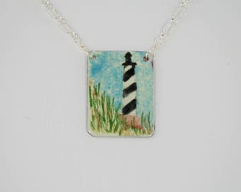 Hatteras Lighthouse hand painted torch-fired enamel pendant