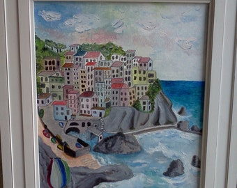 CINQUE TERRE ITALY Original Oil 12x16 Painting On Stretched Canvas and 18x24 Giclee on Unstretched Canvas. Both Are Unframed