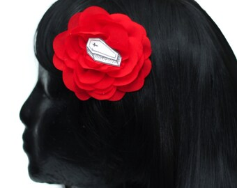 Coffin & Red Chiffon Rose Hair Flower Clip