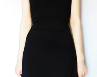 The 'Stone' LBD - Black Skater Cross Back Dress