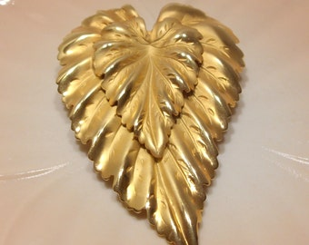 Large Double Leaf Shiny and Brushed Gold Tone Engraved Brooch