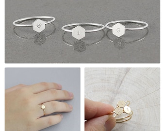 Initial Rings, Hexagon Ring, Personalized Ring, Stacking Ring, Customized Initial Ring/ Sterling Silver &14 k Gold Fill (HCR HR 6.7 od )