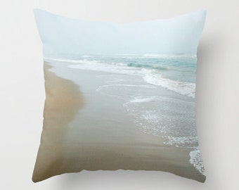 Pillow cover, Ocean Shore Pillow, Aqua Blue Pillow, Beach House Decor, Beach Photo Pillow, Seashore Pillow, Living room decor 16x16 18x18